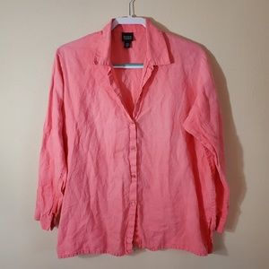 Eileen Fisher Coral Long Sleeve Shirt Size Medium